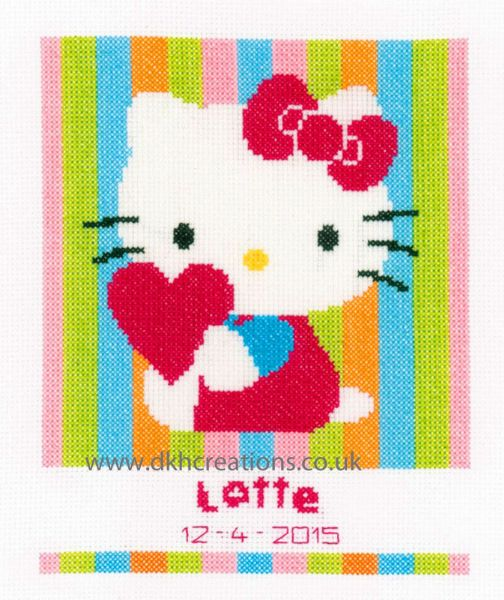 Hello Kitty Striped Birth Sampler Cross Stitch Kit
